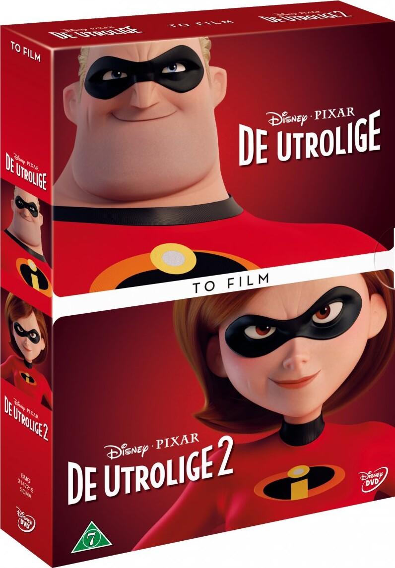 Image of   De Utrolige 1-2 / The Incredibles 1-2 - Disney Pixar - DVD - Film