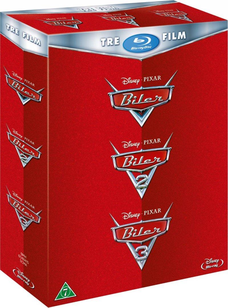Image of   Cars 1-3 / Biler 1-3 - Disney Pixar - Blu-Ray