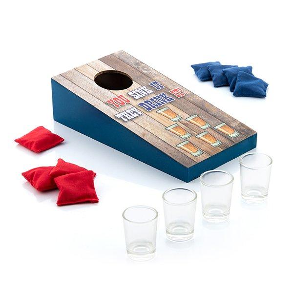Image of   Drikkespil - Kastespil Med 8 Frøposer Og Shotglas