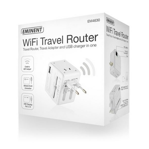 Eminent Wifi Travel Router Em4630 – Access Point Repeater 150 Mbps – Hvid