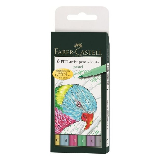 Image of   Faber-castell Pitt Artist Pen Brush Pastel Colors / Pastelblyanter - 6 Stk.