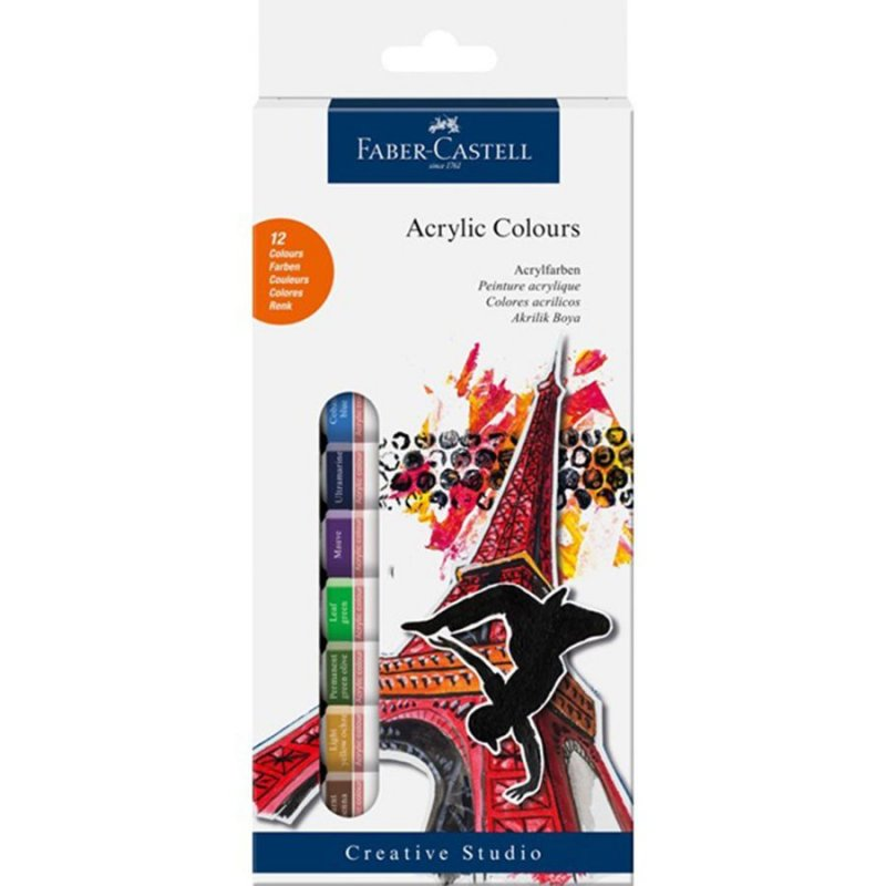 Image of   Faber Castell Akrylfarver - 12 Stk.