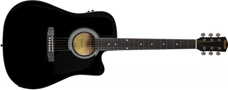 Fender Squier Sa-105ce Akustisk Guitar - Sort