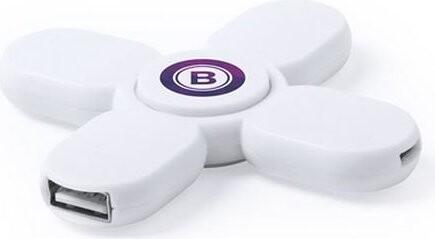 Image of   Fidget Spinner - Usb Hub Med 3 Usb Porte - Hvid