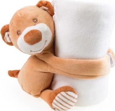 Fleecetæppe Med Bamse Børn - 100x75 Cm - Hvidt