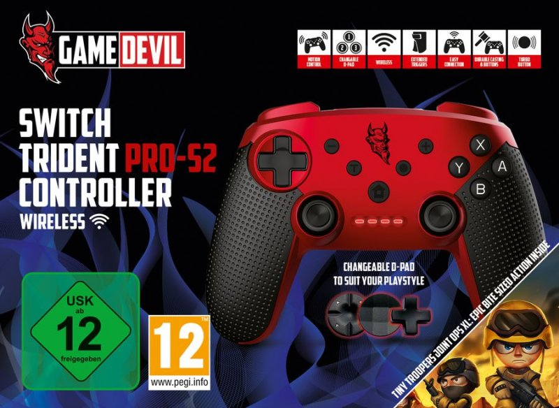 Image of   Gamedevil Switch Trident Pro-s2 Controller Wireless - Rød