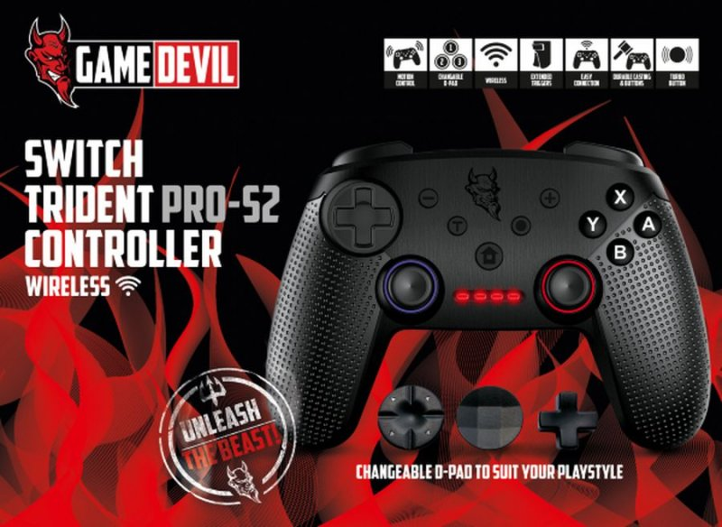 Image of   Gamedevil Switch Trident Pro-s2 Controller Wireless - Sort