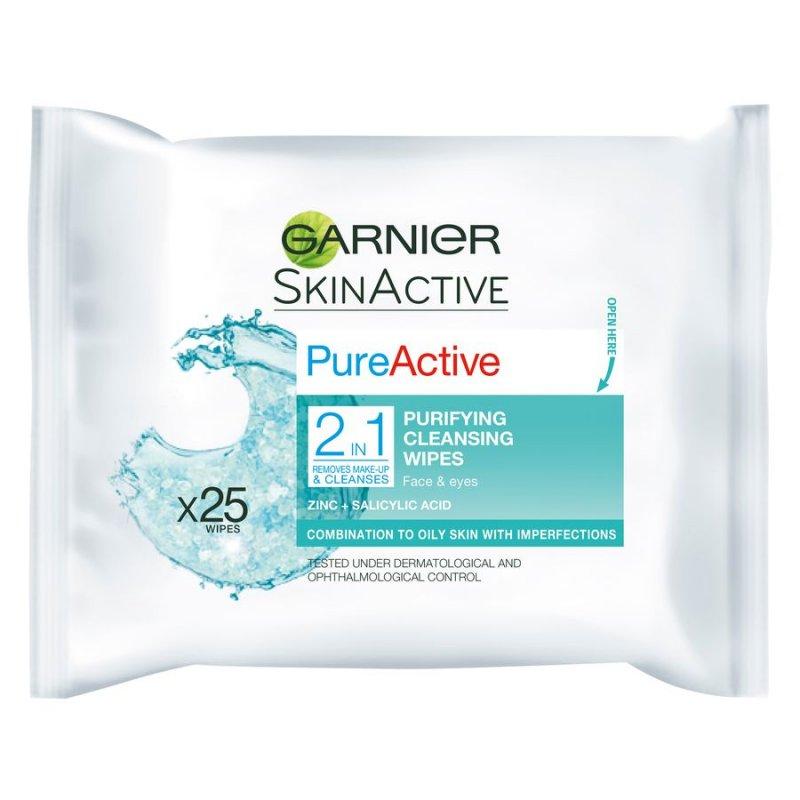 Garnier - Pure Active 2in1 Wipes 25 Stk