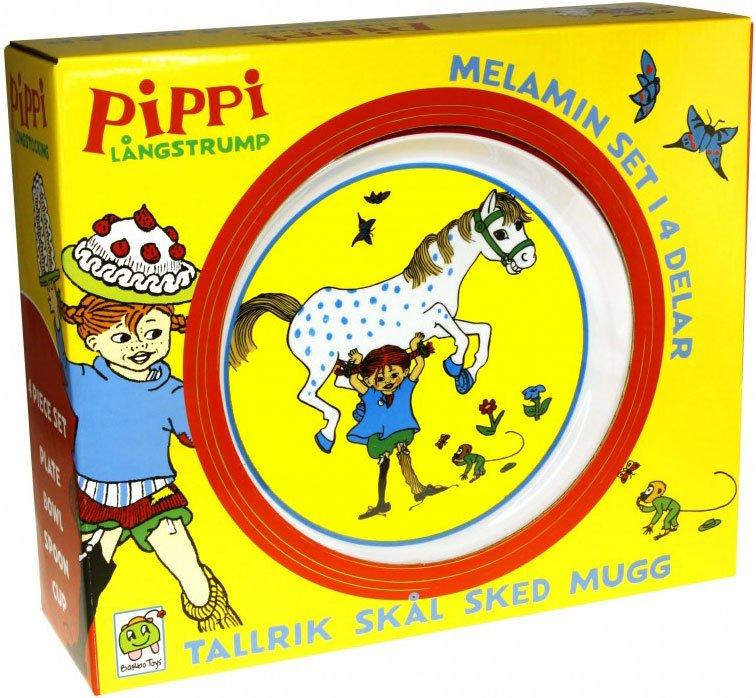 Image of   Pippi Langstrømpe Legetøj - Tallerken, Skål, Kop Og Ske