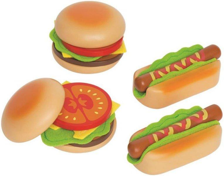 Hape Legetøjsmad - Hamburgers Og Hotdogs