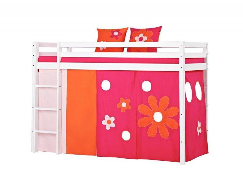 Hoppekids - Forhæng Til Halvhøj Seng - 90x200 Cm - Pink / Orange → Køb billigt her