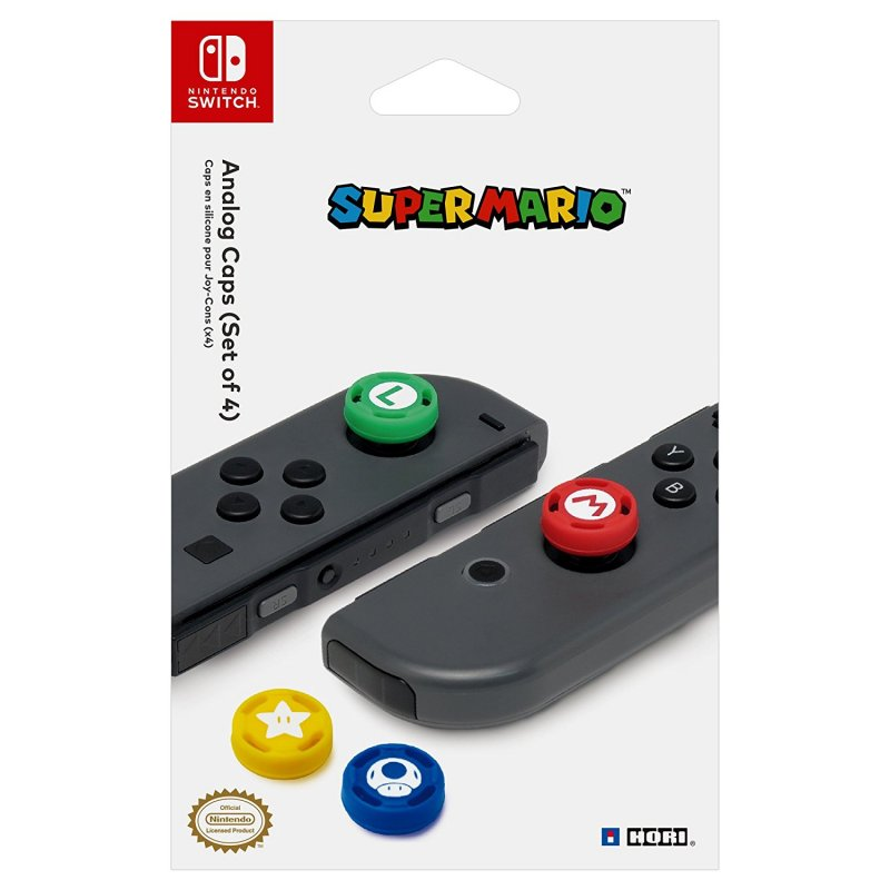 Image of   Hori Switch Super Mario Thumb Caps Kit - Sæt Med 4 Farvedesign