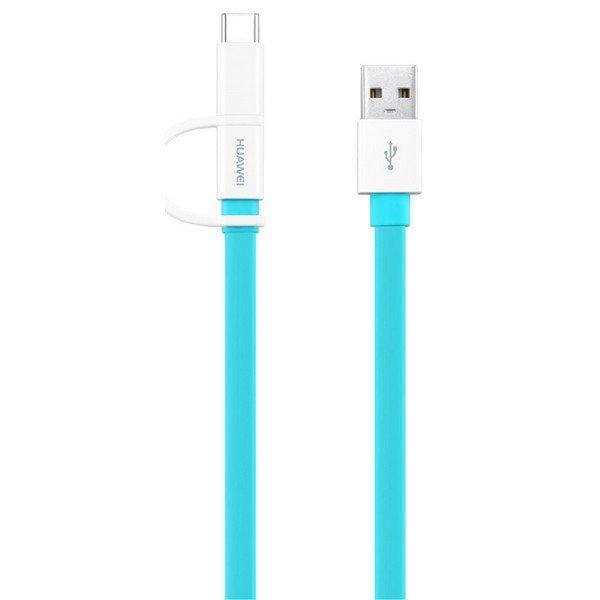 Image of   Huawei - Usb-a Til Mikro Usb Og Usb-c Adapter Kabel - 1,5 M - Blå