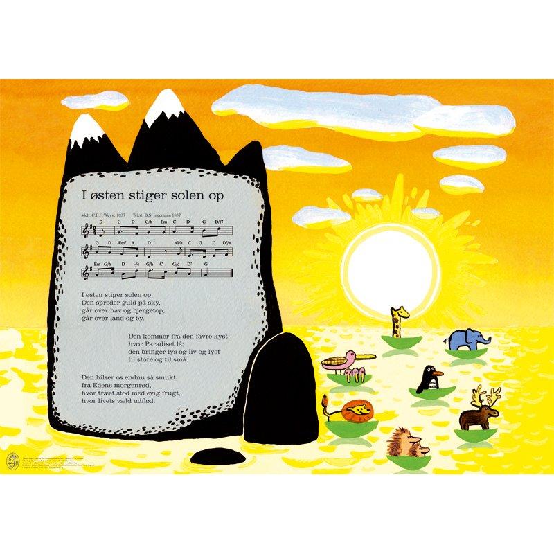 Plakat Til Børneværelset - I østen Stiger Solen Op - 50 X 70 Cm.