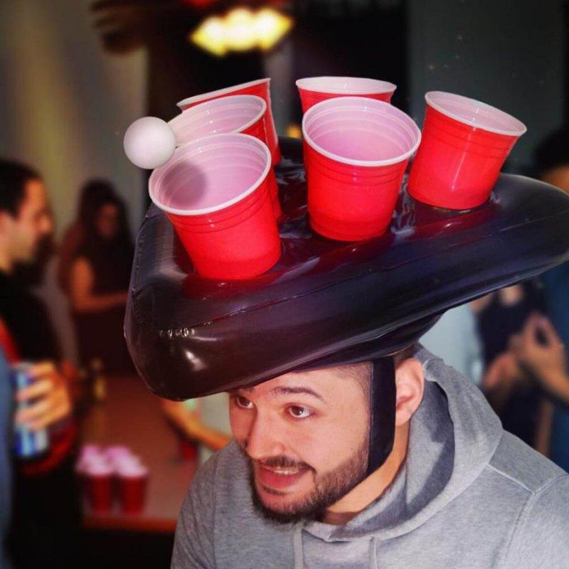Image of   Oppustelig Beerpong Hat Inkl. 2 Bolde Og 6 Kopper