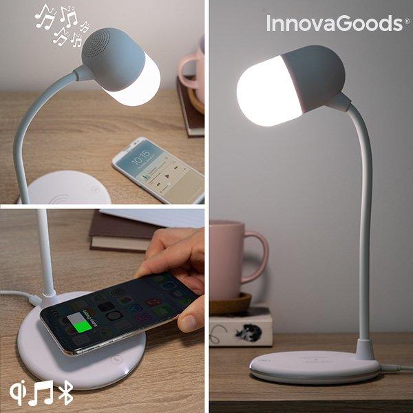 Image of   Innovagoods - 3-i-1 Led Bordlampe Med Højtaler Og Trådløs Qi Oplader - Hvid