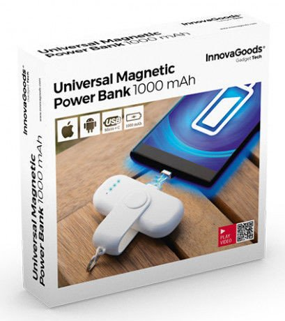 Image of   Innovagoods - Magnetisk Powerbank Til Iphone Og Android 1000 Mah - Hvid