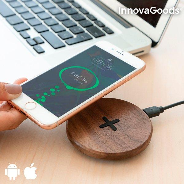 Image of   Innovagoods - Trådløs Qi Oplader Til Mobil Inkl. Micro Usb Kabel - Valnød