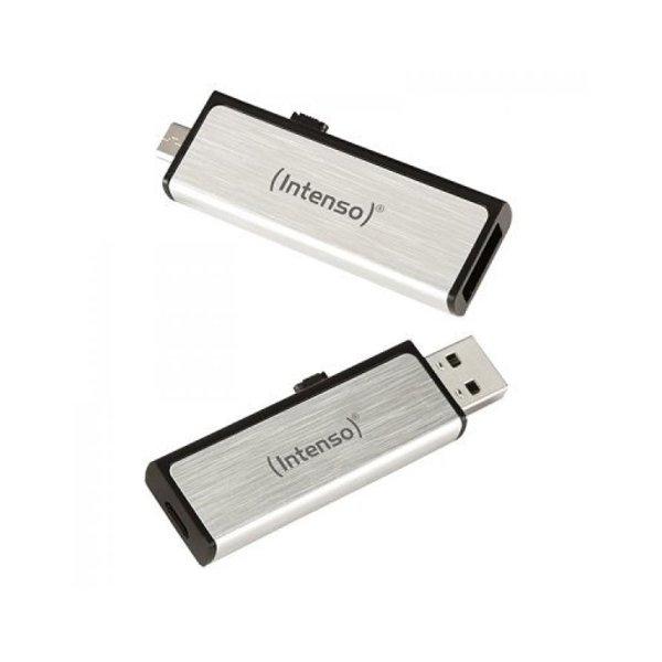 Image of   Intenso - 16gb Usb Nøgle Med Usb-a Og Micro Usb Stik - Aluminium