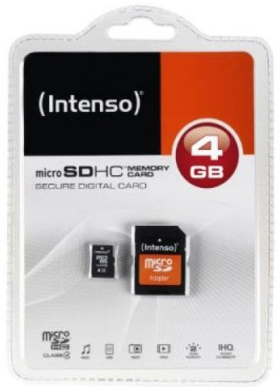 Image of   Intenso - Micro Sd Kort Med Adapter - 4gb Class 10