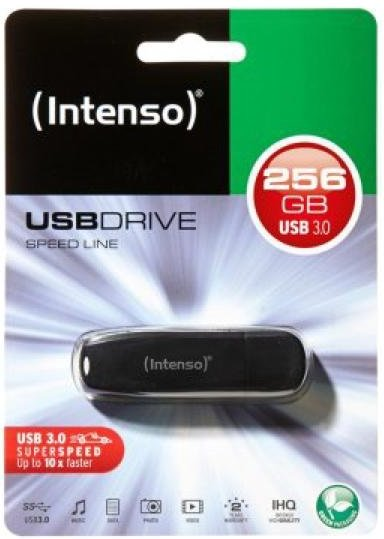 Image of   Intenso Speed Line - Usb 3.0 Stik - 256gb - 70 Mb/s - Sort