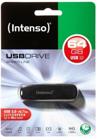 Image of   Intenso - Usb 3.0 Stik - 64gb - 70mb/s - Sort