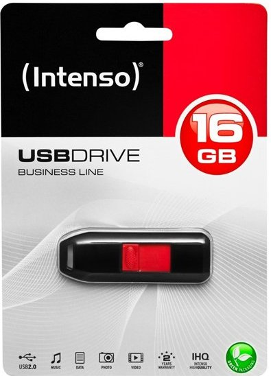 Image of   Intenso - Usb Stik - 16gb - 28mb/s - Sort Rød