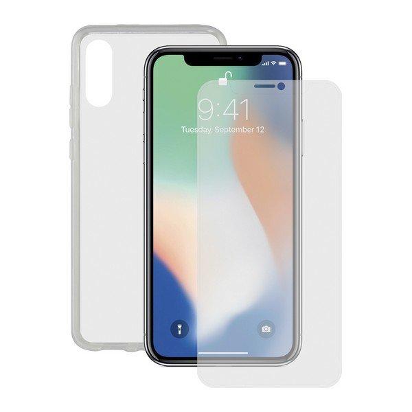 Image of   Iphone Xs Max - Beskyttelsessæt Med Cover Og Hærdet Glas - Gennemsigtig