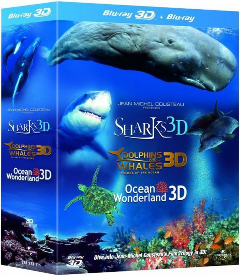 Image of   Jean Michel Cousteau Presents Dolphins & Whales / Sharks / Oceans - (3d Blu-ray + Blu-ray) -