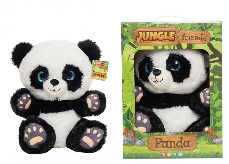 Jungle Friends - Panda Bamse I Boks - Sort Hvid 30 Cm