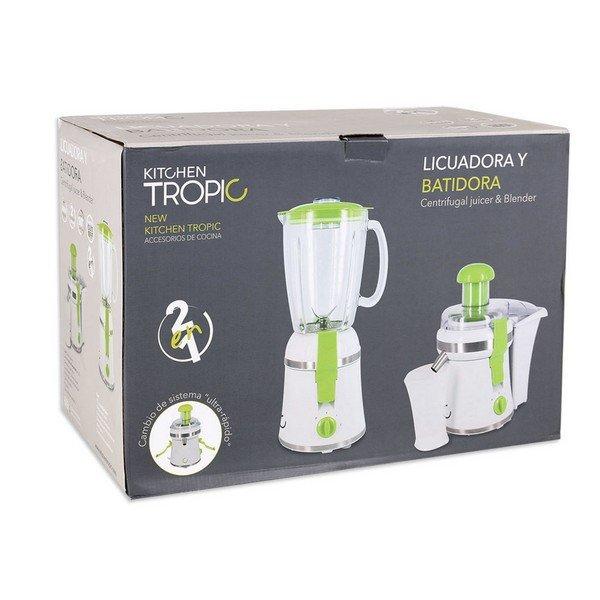 Image of   Kitchen Tropic - 2-i-1 Juicer Og Blender Sæt - Mkt92230 - 300w - Hvid Grøn