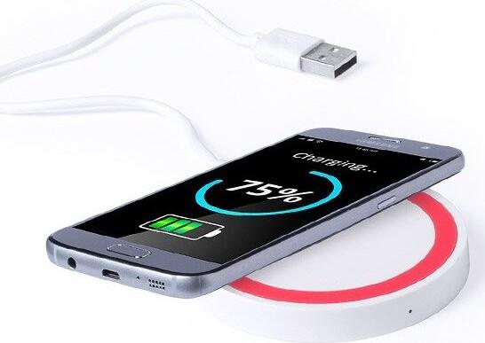 Image of   Kompakt Trådløs Qi Oplader Til Iphone Og Android - Rød