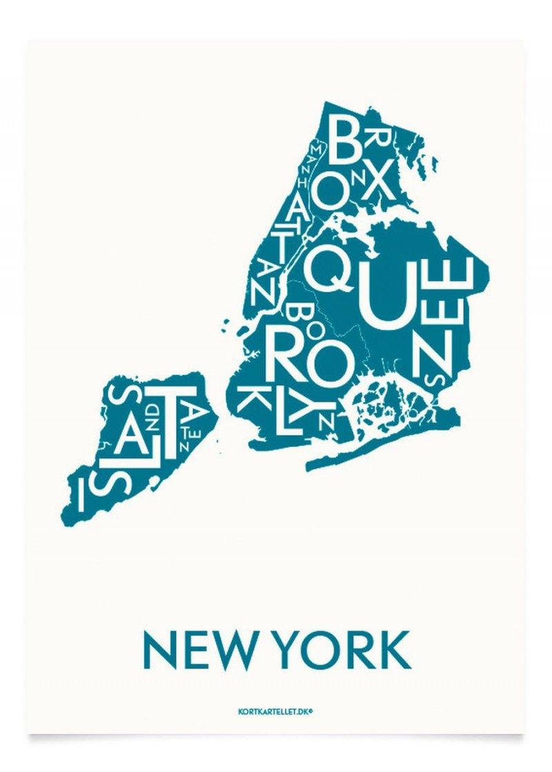 9146cb5900d Kortkartellet - New York City Plakat 40 X 55 Cm - Petroleum → Køb ...