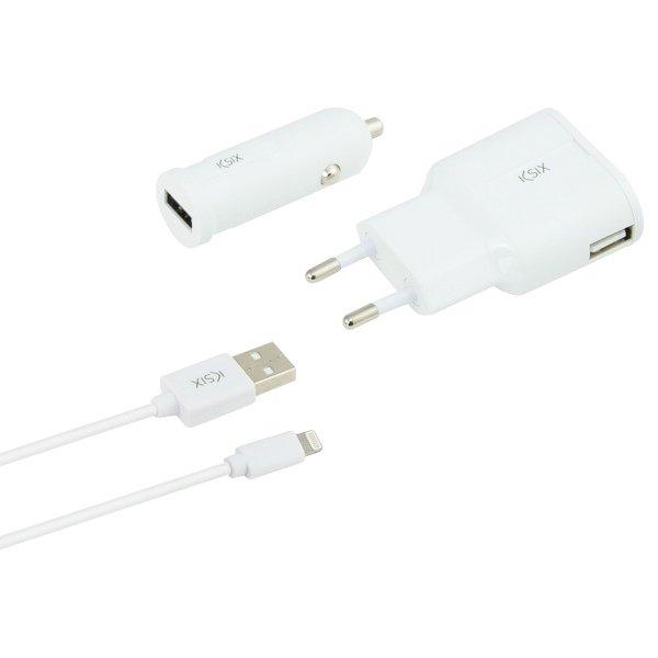 Image of   Ksix - Iphone Oplader Sæt Inkl. Usb Biloplader Og 1 M Lightning Kabel - Hvid