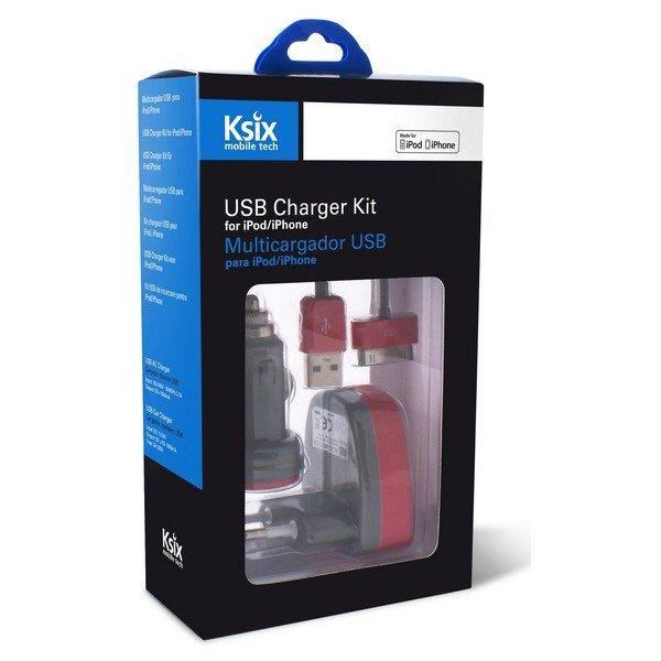 Image of   Ksix - Iphone Oplader Sæt Inkl. Usb Biloplader Og 30-pin Kabel - Grå