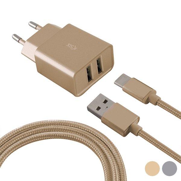 Image of   Ksix - Mobil Usb Oplader 2.4a Inkl. Usb-a Til Usb-c Kabel - Guld