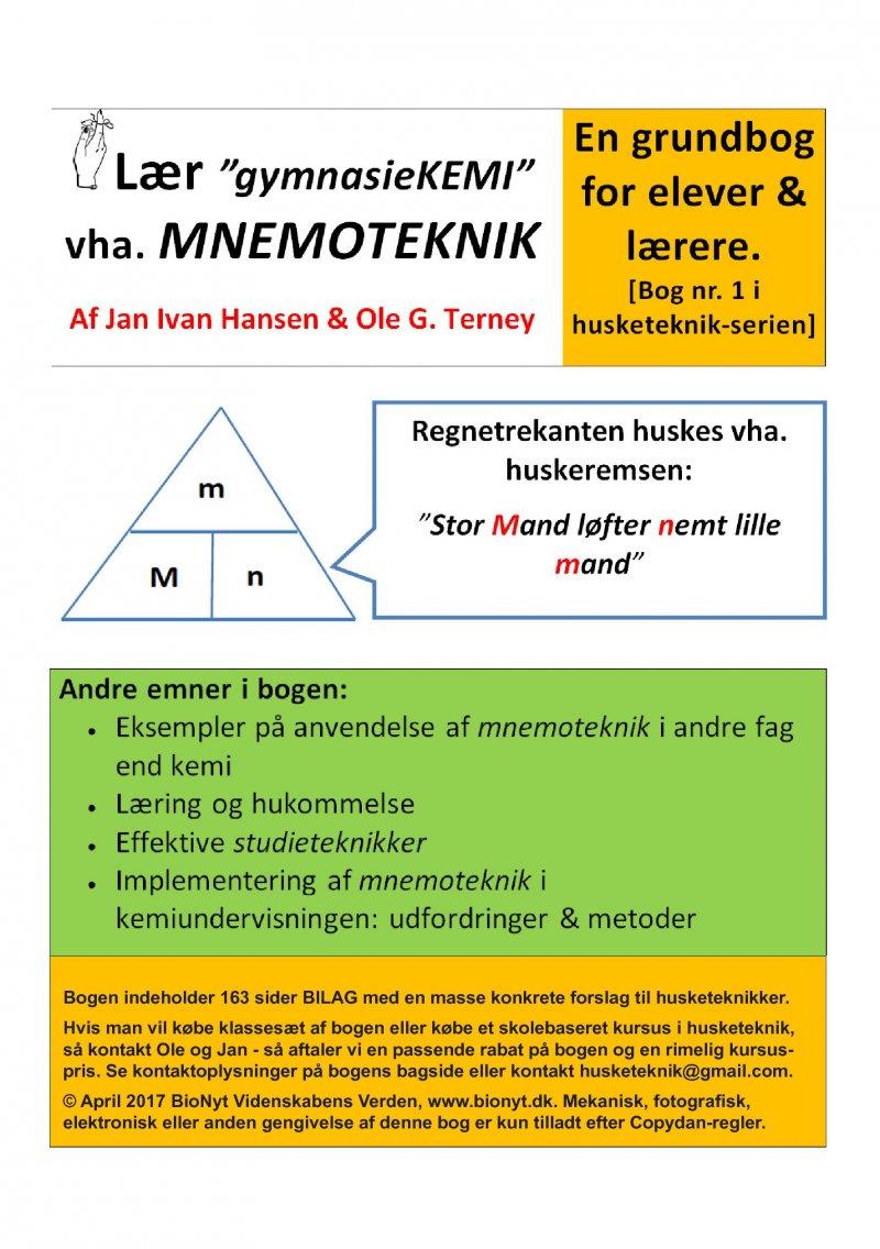 Image of   Lær Gymnasie-kemi Vha Mnemoteknik - En Grundbog For Elever & Lærere - Ole G. Terney - Bog
