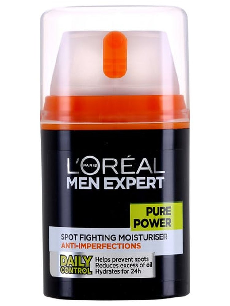Image of   Ansigtsrens Til Mænd - Loréal Pure Power Spot Fighting Moisturiser - 50 Ml.