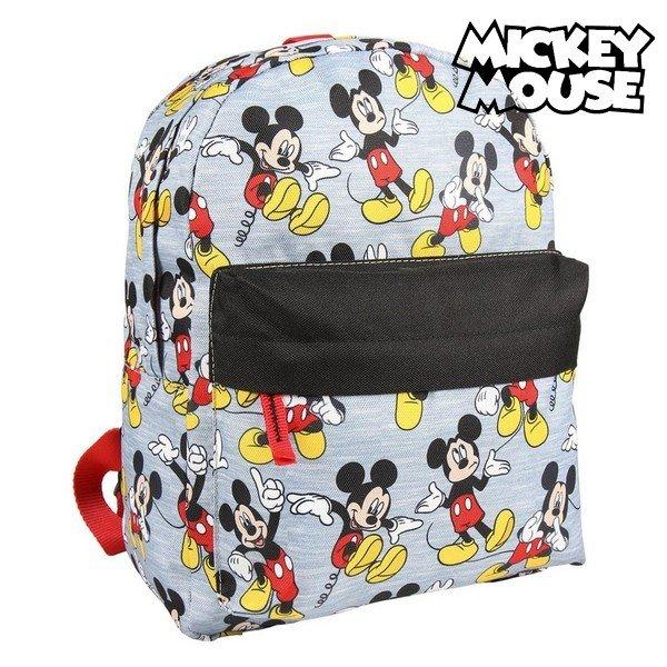 Image of   Mickey Mouse - Skoletaske Med Håndtag, Forlomme Og Mickey Motiver - Grå