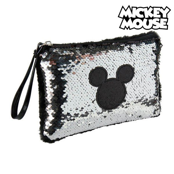 Image of   Mickey Mouse - Clutch Taske Med Palietter - Barn - Sort Sølv