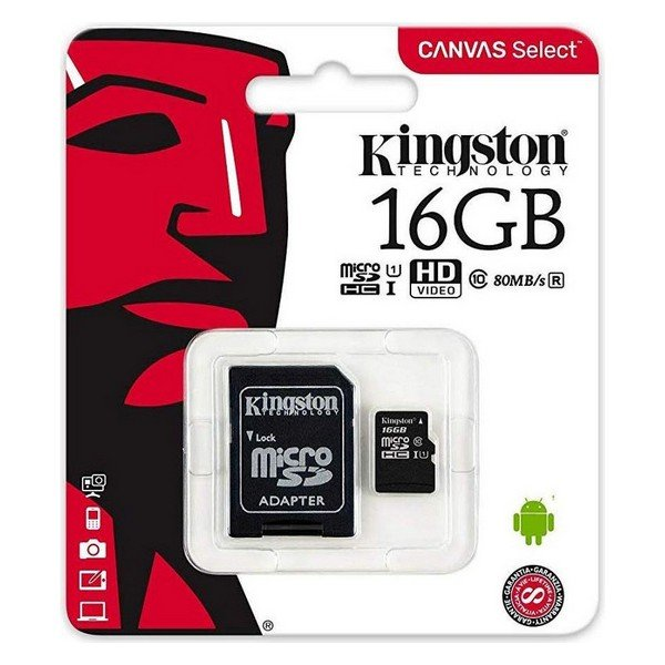 Image of   Micro Sd Kort - 16gb 100mb/s Class 10 - Kingston