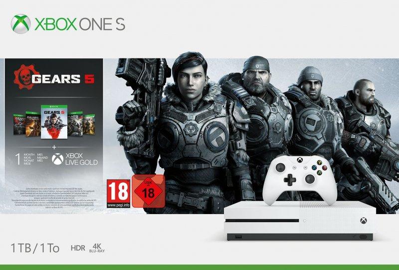 Image of   Microsoft Xbox One S Konsol - 1tb - Gears 5 Bundle