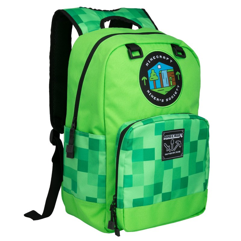 Minecraft 17″ Skoletaske – Miner's Society – Grøn