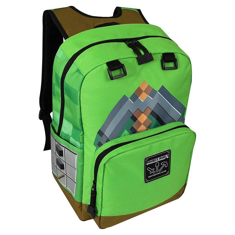 Minecraft 17″ Skoletaske – Pickaxe Adventure – Grøn