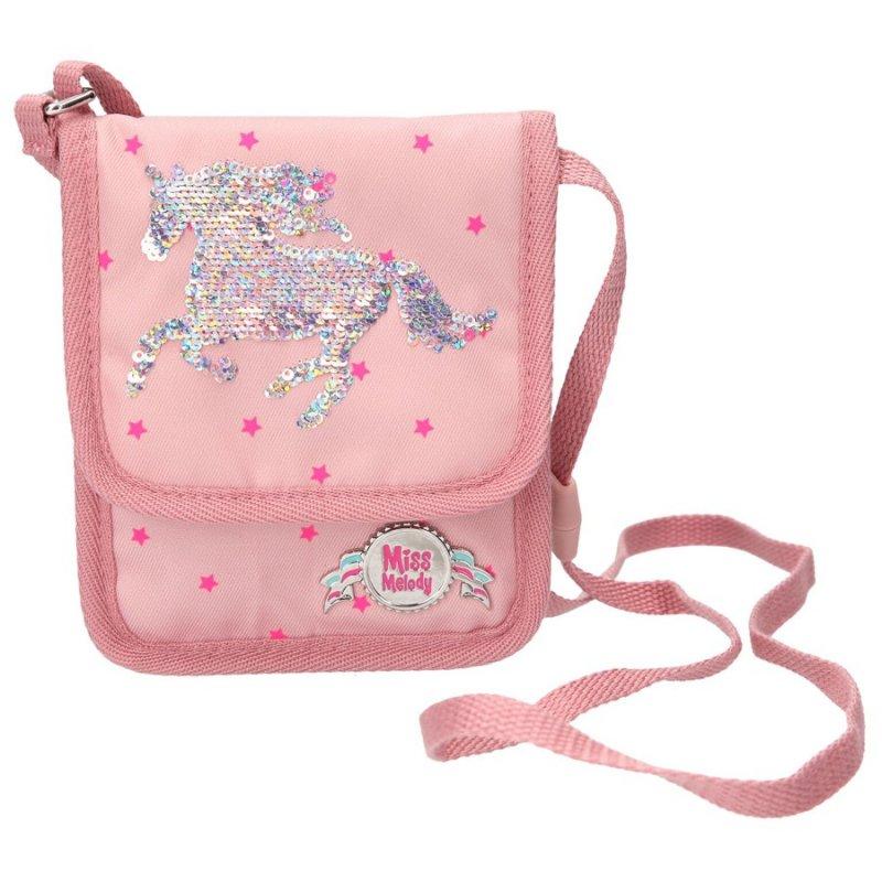 d41cadd7 Tasken er designet i lyserød med pink stjerner samt et flot motiv af en  hest i vendbare pailletter, så du selv kan skifte mellem ...