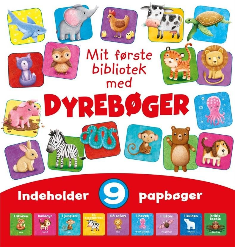 Image of   Mit Første Bibliotek - Med Dyrebøger - Med 9 Papbøger - Diverse - Bog