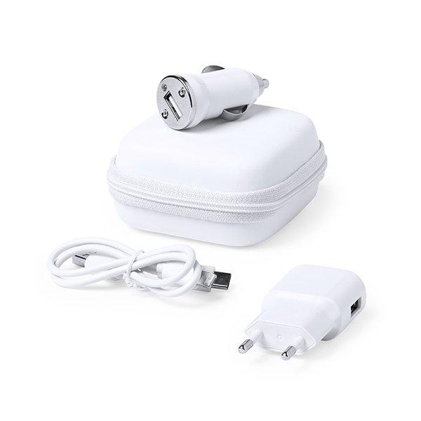 Image of   Mobil Oplader Sæt Inkl. Usb Biloplader Inkl. Kabel Og Etui - 1000 Mah - Hvid