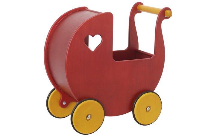 dukkevogn, gåvogn, gå vogn, dukkevogne, trælegetøj, træ legetøj, dukkevogn træ, træ dukkevogn, trædukkevogn, moover gåvogn, gåvogn baby, rød dukkevogn, rød dukkevogn i træ