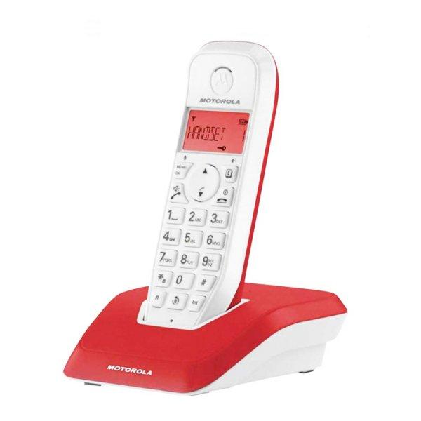 Image of   Motorola - Trådløs Fastnettelefon - S1201 - Rød Hvid