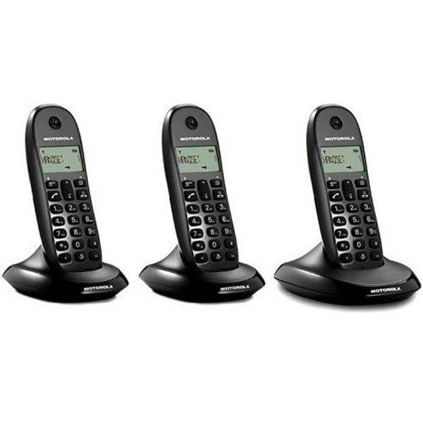 Image of   Motorola - Trådløs Fastnettelefon Sæt Med 3 Stk - C1003 - Sort